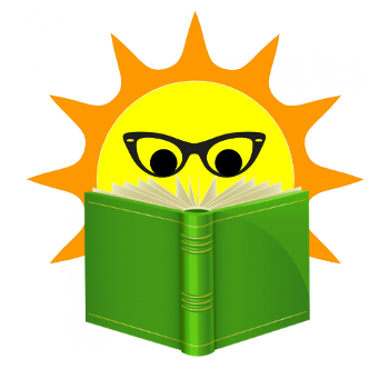 image of sun wearing glasses and reading a book